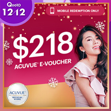 [NEW!] $218 ACUVUE Voucher at *$138 (*Must use Qoo10+Shop Coupon)◆$80 Savings ◆Free Tarte Gift Set