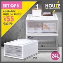 ONLINE EXCLUSIVE ♦ BUNDLE OF 3 ♦ 24L ~ 38L Modular Single Tier Drawer ♦ Stackable ♦