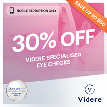 30% off Videre Eye Checks (UP: $60 - $120)◆Add Eye Check For Your Loved One◆GWP $20 value Grab ride!