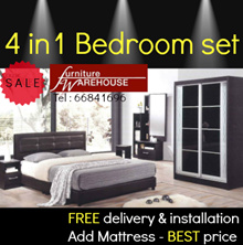Bedroom set:Queen bedframe/wardrobe/dresser+stool/bed side table (add mattress) Furniture warehouse