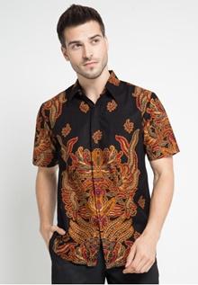 Rianty Batik Shirt Male Hem Garindra Black 4CDE4AA6645A54GS