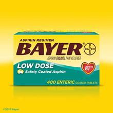 US Bayer Aspirin Aspirin Regimen Bayer 81 mg Low Dose 400 tablets / low dose aspirin