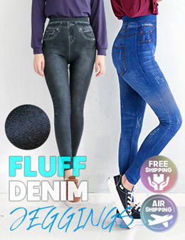 3e1fb6de5007  CROBELLDI 💕LINING FLUFF DENIM LEGGINGS✈FREE SHIPPING💕WOMAN FASHION💕KOREA