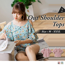 OB DESIGN ★ OBDESIGN ★ ORANGEBEAR ★ RUFFLE SLEEVE PRINTED OUT SHOULDER TOPS ★ 2 COLORS ★ S-XXXL SIZE