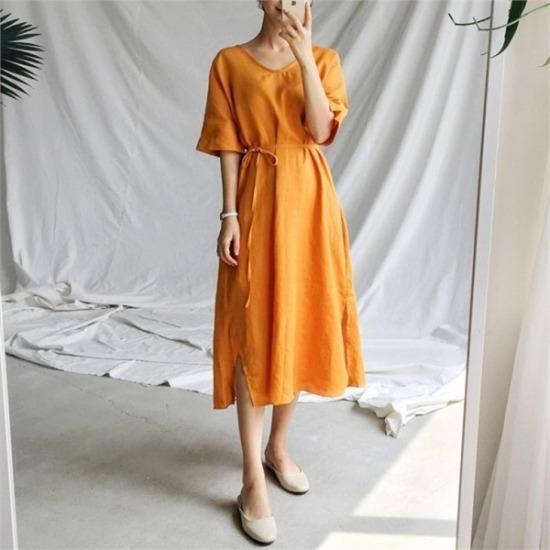 るみさん行き来するようにるみさんるみさんプロロングスリットワンピース 綿ワンピース/ 韓国ファッション