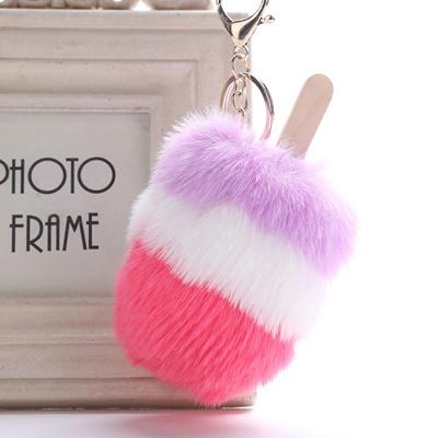 3colors ice cream fur key chains fluffy fur pompom keychain keyring car bag  pendant women gifts b1108d2b7a