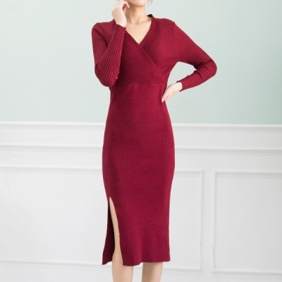 [Cookie 7] R7597 Front slit slim wrap long dress