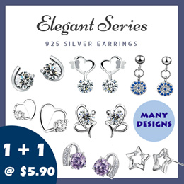 1 FOR 1 NEVER BEFORE PRICE! [ANTI-ALLERGY] LITTLE MOMO  925 SILVER EARRINGS  ELEGANT DESIGNS