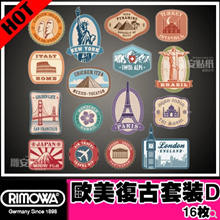 Rimowa National City 3M suitcase stickers Postmark suitcase stickers Trolley retro stickers