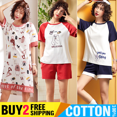 37178ce5f11f0 Buy 2 Free Shipping Womens Pajamas Cotton 100% Sleepwear T-Shirts Dress  Girls Cute Cartoon