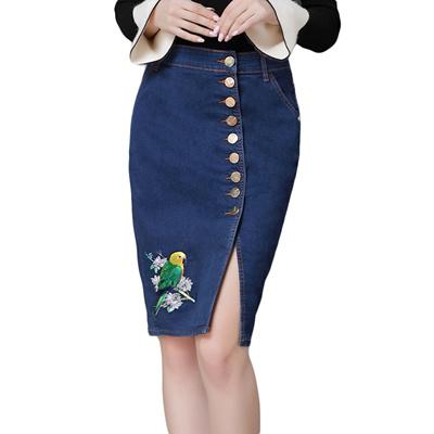 c095c2cf7 online Floral embroidered denim skirt women jeans pencil skirt high waist  split knee length plus siz