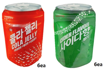★korea jelly★best selling in korea big hit lotte cola jelly 50g x 6ea/ cider(sprite) jelly 50g x 6ea