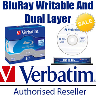 VerbatimVerbatim 25GB 50GB Capacity BD-R BDR DL Blank Blu-ray Recordable  Disc Dual Layer 6x Discs Spindle