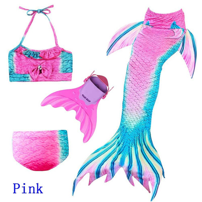 Children s Mermaid Tails Swimming Cosplay 3-12 Years Swimmable Mermaid Tail  With Monofin For Girls B