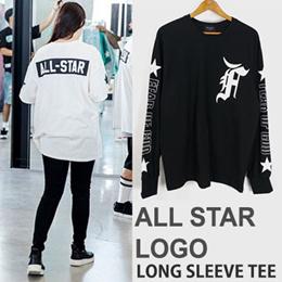 《送料無料》 オールスターロゴプリントロングスリーブTシャツ(ブラック/ホワイト)