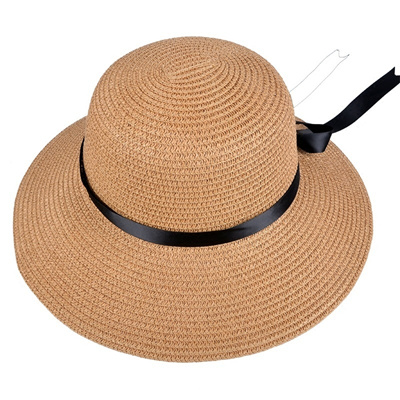 987813493 wholesale Summer womans bucket hat wide brim UV protection sun hat tourism  beach straw hat bowknot c