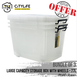 [BUNDLE OF 3] Citylife Large Capacity Storage Box with Wheels - 77L!