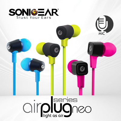 SONICGEAR ULTRA LIGHT EarPhone with TANGLE-FREE Flat cable | AirPlug Neo Series | For all Mobile Phone and Tablets Product of Singapore. 1 Year Local Warranty. Deals for only S$18.9 instead of S$18.9