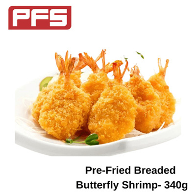 [Pre-Fried Breaded Butterfly Shrimp]-340g/pkt