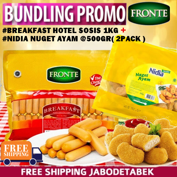 PROMO BUNDLING Breakfast Hotel 1KG+Nidia Nuget Ayam 500gr Deals for only Rp149.000 instead of Rp149.000