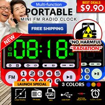 ★ NEW !! Large LCD Display ★ Multi-function Portable Mini FM Radio Clock Alarm Torch MP3 TF/USB
