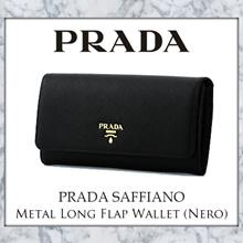 Prada Saffiano Metal Long Flap Wallet (Nero)