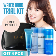 LANEIGE BASIC + NEW WATER BANK TRIAL KIT - Get 4pcs - FREE POUCH