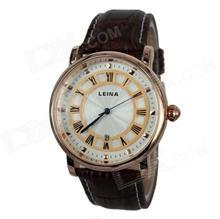 Men s Retro Roman Numerals PU Leather Band Quartz Analog Wrist Watch - Gold + Coffee (1 x 377)