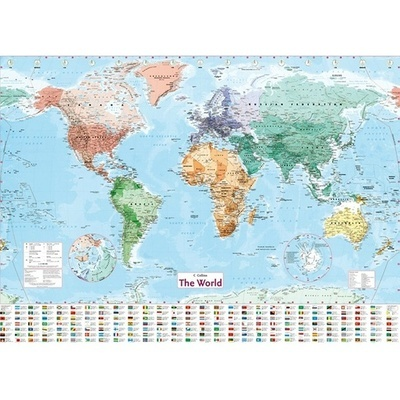 Map Of The World In English.Collins World Laminated Map Uk English Shipping Wall By Latest Geography Waterproof Color Multicol