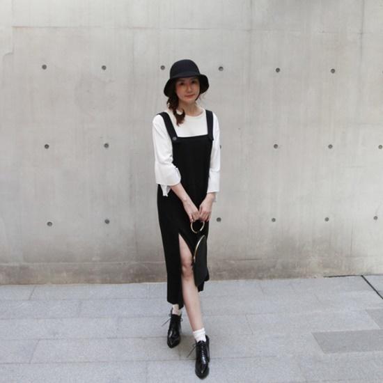 ポンジェイの前に広がることサスペンダーワンピース2color 綿ワンピース/ 韓国ファッション