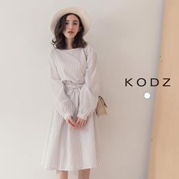 KODZ - Waist Elasticated Back Buttoned Waist Straight Dress-182046