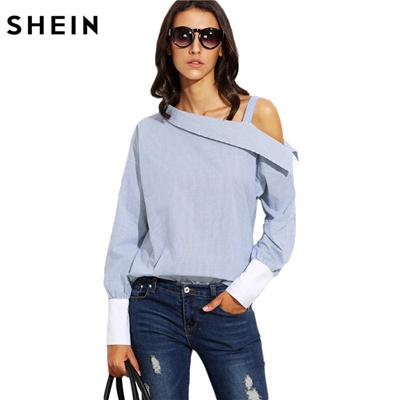 ebf5e888177 outlet SHEIN Womens Tops Fashion Autumn Ladies Blue Striped Fold Over  Asymmetric Shoulder Long Sleev