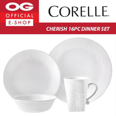 Corelle Cherish Embossed 16pc Dinner Set  sc 1 st  Qoo10 & Qoo10 - Corelle Cherish Embossed 16pc Dinner Set : Kitchen \u0026 Dining
