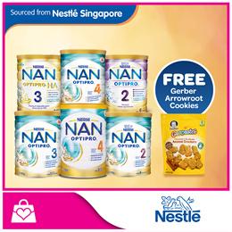 Bundle of 3 PROMO!!! [Nestle] NAN® OPTIPRO® Milk Powder x 3 cans [FREE Gerber Arrowroot Cookies]