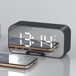 Mirror Clock Bluetooth Speaker Alarm FM Radio Phone Stand