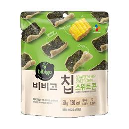 CJ BIBIGO Chip Sweet Corn Taste 20g X 20 Stick Kim Bugak Snack Korean Health Crispy Texture