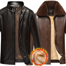New Arrival Men Leather Clothing Jackets Winter Keep Warm Coats Plus Size PU Leather Motorcycle