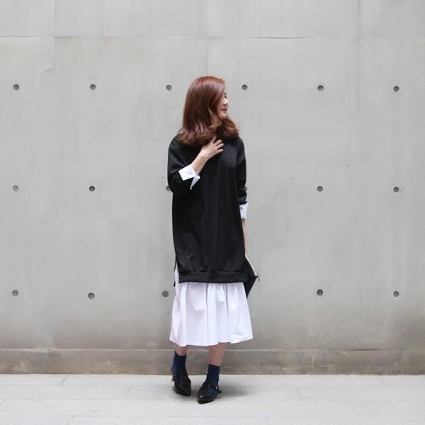 パクシした配色ワンピース 無地ワンピース/ワンピース/韓国ファッション