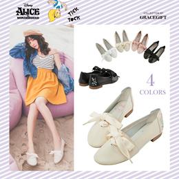 Gracegift-Disney Alice Embroidery Ribbon Tie Leather Flats/Women/Ladies/Girl