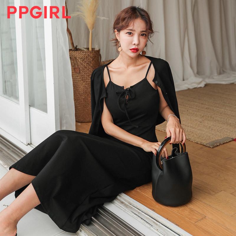 ♥送料 0円★PPGIRL_A422 Silhouette dress set / long dress / cardigan + dress / two piece /