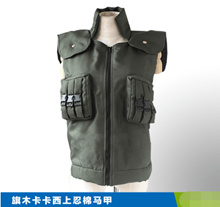 Naruto flag Kakashi cosplay costume on cotton vest green vest