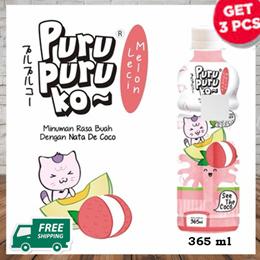 ** Get 3 Pcs ** Melon Lychee Puru Puru Ko 365ml ( Free Shipping Jabodetabek )