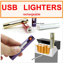 [SG] USB Rechargeable Metallic Quality Windproof Lighter + Charging Cable +Gift box Cigar Cigarette