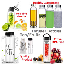 Glass Tea Infuser / Fruit Infuser / Drinking Water Bottle / BPA free Tritan Flip Lid Healthy Cup