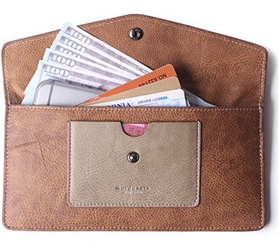 a290f6206aca Borgasets Womens Wallet Leather RFID Blocking Ultra-thin Envelope Ladies  Purse Travel Clutch with ID
