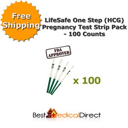 Freeshipping - LifeSafe One Step (HCG) Pregnancy Test Strip Pack - 100 Counts