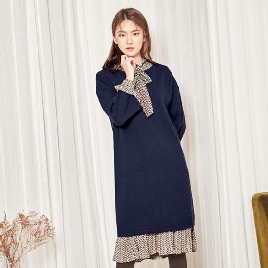 ナインNAINボートネックラインHフィットニット・ワンピースOP3473 面ワンピース/ 韓国ファッション