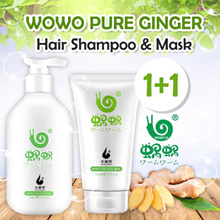 1+1 CHEAPEST 100% AUTHENTIC - WOWO PURE GINGER SHAMPOO 300ML AND MASK 150ML