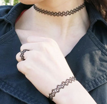 Korean Style Fashion Accessories * Wired Choker/Bracelet/Ring Set * As Seen In Korean TV *