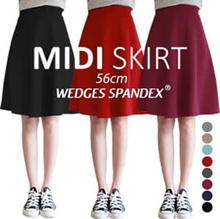 [New Colors Updated] KOREA STYLE ★ MIDI SUPER FLARE SKIRT/ big size /Spandex/Imported Skirt